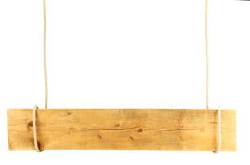 blank wooden sign hanging on rope, isolated on white