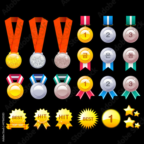 Gold, Silver, Bronze Contest Awards icon sets. Creative Icon Des