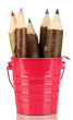 Colorful wooden pencils in pink purple green pail isolated