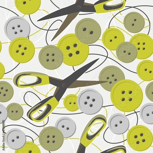 szare i zielone nożyczki i guziki deseń na jasnym tle