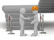 Builder in helmet shaking hands 3d man