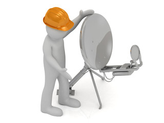 3d man in orange helmet adjusts the satellite dish