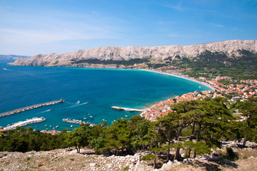 Baska bay sea and city from panoramic viewpoint - Krk - Croatia