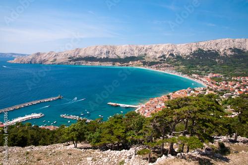 Baska bay sea and city from panoramic viewpoint - Krk - Croatia