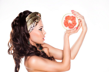 Beauty Young Woman Brunette Preferring Low Calorie Food - Citrus
