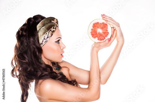 Beauty Young Woman Brunette Preferring Low Calorie Food - Citrus