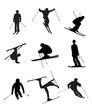 Skiing silhouettes on the white background