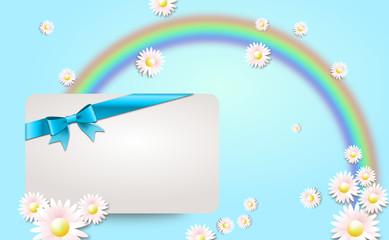 Geschenkgutschein mit Regenbogen und Blümchen
