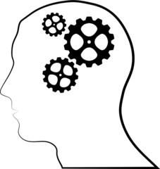 Brain of gears silhouette