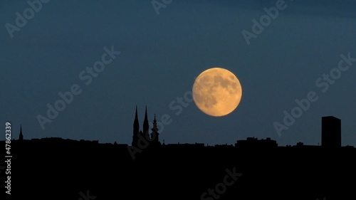 Croatia Zagabria panorama moonrise