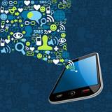 Smartphone social icons mobile splash