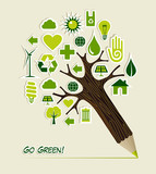 Go Green icons pencil tree