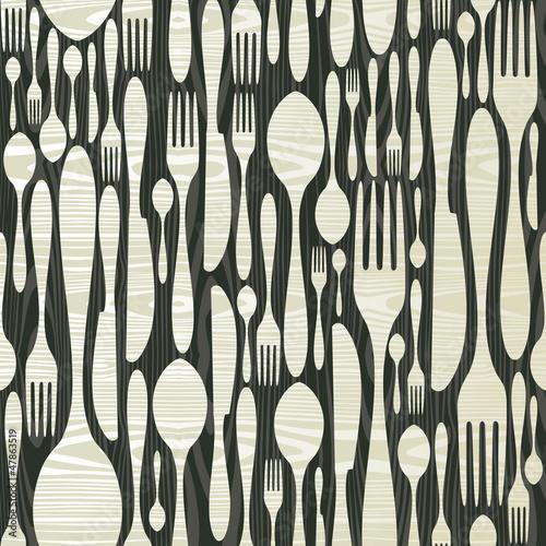 Seamless silverware wooden pattern © cienpiesnf