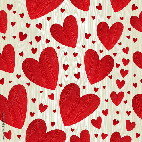Love hearts wooden pattern