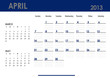 Monthly calendar for 2013 year - April. Start on Sunday.