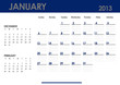 Monthly calendar for 2013 year - January. Start on Sunday.