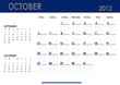 Monthly calendar for 2013 year - October. Start on Sunday.