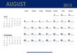 Monthly calendar for 2013 year - August. Start on Sunday.
