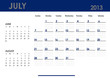 Monthly calendar for 2013 year - July. Start on Sunday.