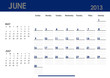 Monthly calendar for 2013 year - June. Start on Sunday.