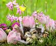 Frohe Ostern: Nest auf Blumenwiese
