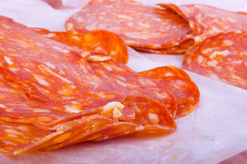 Tasty Sliced Genoa Salami Close up