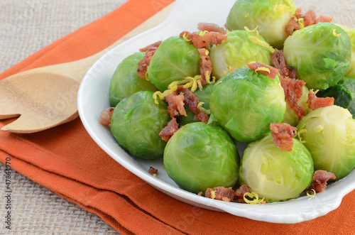 Brussels sprouts with bacon and lemon zest