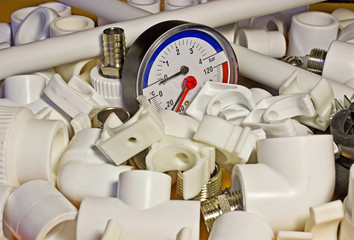 Polypropylene fittings for system of heating and pressure gauge