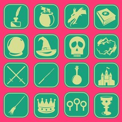 magic wizard icon set pink green