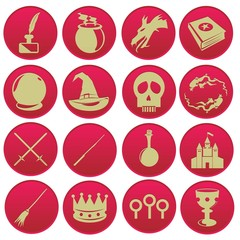 magic wizard icon set red