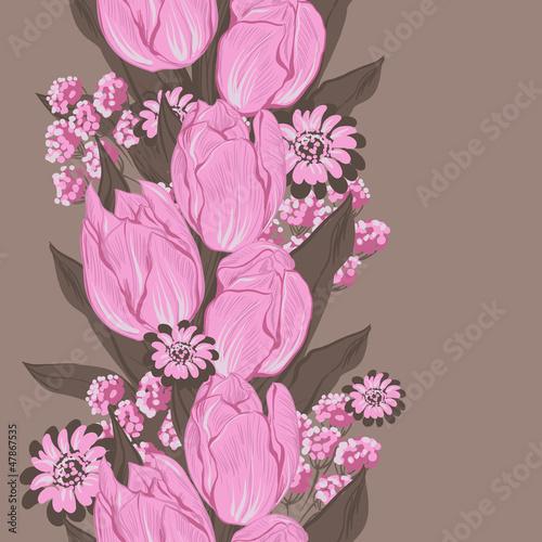 Ilustracja wektora tulipanów. (Seamless wzór kwiaty)