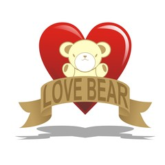 love bear with heart with ribbon
