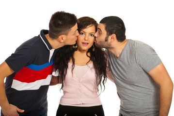 Two guys kissing friend woman