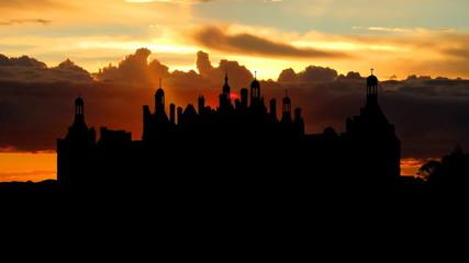 France Chateau de Chambord de Loire Valley sunrise
