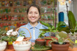 woman in store for gardeners