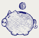 Gold coin fall into a piggy bank. Doodle style