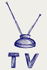 Seen on TV icon. Doodle style