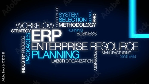 ERP enterprise resource planning system word tag cloud animation