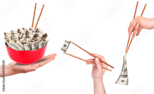 Concept image of food money set
