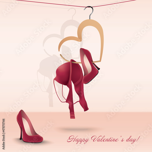 Valentine's day card with bra and shoes