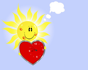 Smiling sun with clock in the shape of heart.