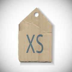 XS Size label isolated on white