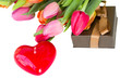 heart shaped candle and tulips