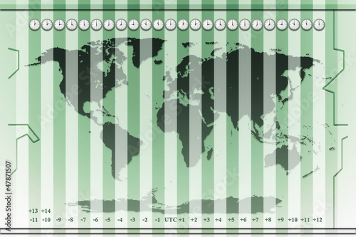 time zones world map background