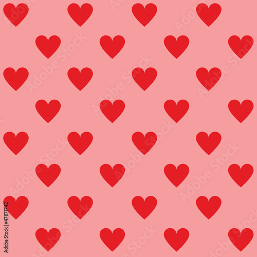 Seamless red hearts pattern
