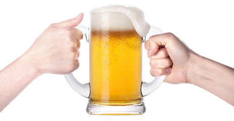 competition of two human hands with beer in glass
