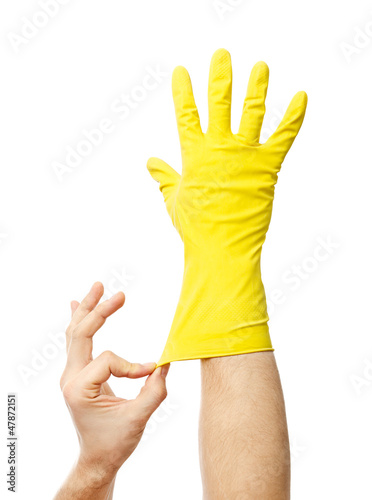 Latex Glove For Cleaning on hand