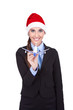 stewardess with Santa hat