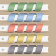 Five modern numbered ribbons-banners