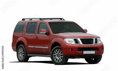red large SUV on a white background